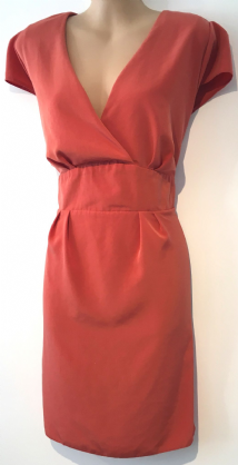 DOROTHY PERKINS ORANGE CROSS OVER TIE BACK TUNIC DRESS SIZE UK 18